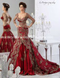 Abito di cerimonia nuziale lungo dei manicotti del merletto dei vestiti nuziali rossi dalla sirena Wdo88
