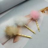 9 Hairpins Barrettes шарика цветов POM Poms покрынных золотом