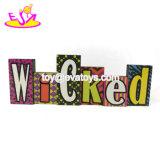 Venda por grosso de madeira Decoração de parede Personalizar Spooky sinal para o Dia das Bruxas W09d043