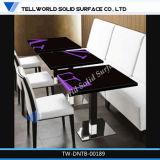 Vente de chaleur moderne haut de la surface solide base en acier inoxydable Table à manger moderne