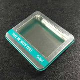 Los envases metálicos tapa Higed lazos de cabello Caja de estaño con ventana de PVC