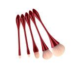 5pcs de forma de cáliz de la Fundación conjunto de cepillos cosméticos Eyeliner mezcla rubor suave Pincel polvo rojo Skin-Friendly brochas de maquillaje