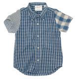 短い袖が付いている100%年の綿の子供の子供のワイシャツ