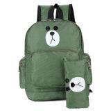 Schoolbag do urso dos desenhos animados da trouxa da escola do saco de ombro dos miúdos com caixa de lápis