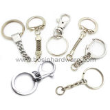 25mm Niquelado Duplo ciclo Key Ring com a corrente