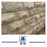 Il fungo giallo dell'ardesia copre di tegoli la pietra del fungo della facciata della parete di pietra per l'angolo della parete del rivestimento della parete