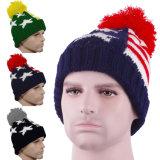 L'hiver Brassard Capuchon POM Beanie rayures en tricot Stars crâne épais Ski Hat