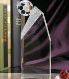 Индивидуальные выгравированными кристально чистый футбол трофей на футбольный матч подарки