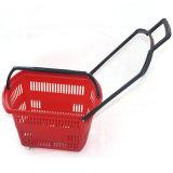 Panier à provisions en plastique de supermarché de 4 roues avec le traitement télescopique