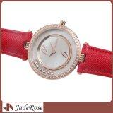 호화스러운 선물 손목 시계, 모조 다이아몬드 방수 진짜 Leatherwomen의 시계