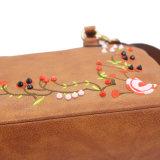 [بو] جلد تطريز زهرة حقيبة يد حقيبة يد زاويّة