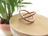 ローズの金によってめっきされるめっきの真鍮の銅の工場ジルコンの石Xのリング