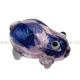 Tubulação de vidro da mão do porco azul Inside-out da cor-de-rosa da frita da cintilação (ES-HP-148)