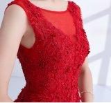 Vestido vermelho A da dama de honra da matriz - linha vestidos de noite B46 do partido do laço