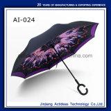 De promotie Auto Open Omgekeerde Paraplu van de Laag van het Handvat van de Vorm van C Dubbele