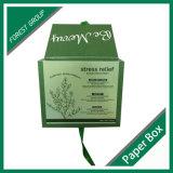 Contenitore cosmetico di vendita di cartone caldo di verde con il nastro