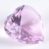 Paperweight di cristallo dentellare romantico del diamante del cuore