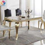 Eettafel van het Roestvrij staal van het Meubilair van de Eetkamer van de luxe de Marmeren Hoogste