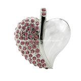 Palillo cristalino del USB de la joyería del metal del USB Pendrive de la dimensión de una variable del corazón