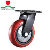 Support noir 8 pouces rouges PU Roulette à usage intensif de roue