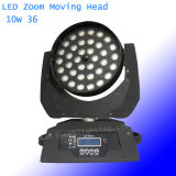 36*10W RGBW 급상승 LED 이동하는 맨 위 사건 빛