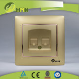 CE/TUV/CB Certified 유럽 Standard Colorful 격판덮개 GOLD Double Tel Socket