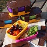 Casella di pranzo di plastica di Bento del contenitore di alimento con le bacchette 20038