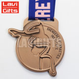 Commercio all'ingrosso d'argento su ordinazione della medaglia di sport di ginnastica del premio del metallo