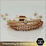 ローズの明白な金の純銀製は人Mjsbb004のためのブレスレットに玉を付ける