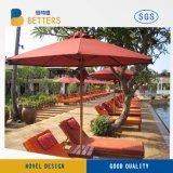 Café extérieur du marché de plage de patio de yard de jardin de Pôle de 9FT de rouge de parasol en métal générique de parapluie