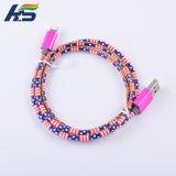 Handy USB-Kabel-umsponnenes ledernes hochwertiges aufladenkabel