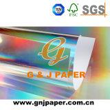 Papel metalizado transferencia de papel gris movido hacia atrás del holograma para empaquetar
