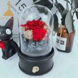 Cloche de verre Boîte à musique rotatif avec préservé les Roses