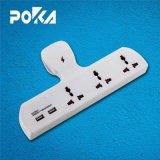 O conceito Poka tipo T tomada múltipla plugue adaptador carregador USB 2.1A
