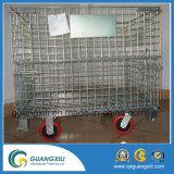 Armazenamento Armazenamento dobrável empilhamento de aço Wire Mesh Container com rodízios