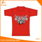 Healongのカスタム卸し売り様式およびファブリックによってカスタマイズされる印刷の不足分の袖ポリエステルTシャツ