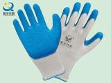 guantes revestidos de la seguridad de la palma del látex del shell de 10g T/C