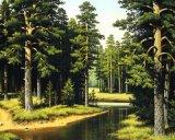 Peinture à l'huile verte d'horizontal sur la peinture de décoration de toile, d'arbre et de fleuve sur la toile