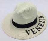 100%chapéu de papel branco Braid Hat com logotipo impresso palavras SH025