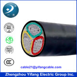 Baixo Voltage 3 Core Electric Underground Cable com Aluminium