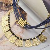 البوهيمي مجوهرات زرقاء خيط سلسلة مع سبيكة خرزة [غلد-بلتد] عقد