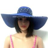100% соломенной шляпе, Мода Стиль Floppy с заклепку украшения