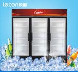 Refrigerador luxuoso da bebida da porta do anúncio publicitário 3 de Supermark