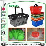 Panier à provisions en plastique de supermarché coloré d'usine de la Chine