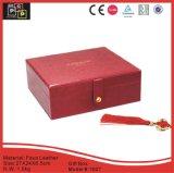 Material de cuero de imitación rojo Hecho a mano Snap Caja de regalo (1007)
