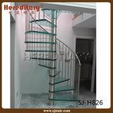 内部(SJ-H826)のための縦型グリルデザインステンレス鋼のガラス螺旋階段