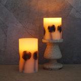 Productos sin llama de la vela del pilar LED del parpadeo verdadero de la cera del ornamento de la Navidad