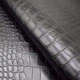 Schwarzes Farben-Krokodil-Haut-Muster künstliches PU-Schuh-Leder