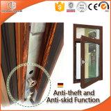 Ventana de inclinación y giro de aluminio térmico de rotura 3D Ventana de rotación y inclinación de aluminio de madera de roble rojo con operador