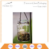 Jarra de vidrio transparente de la linterna con la manija para la idea del sostenedor de vela